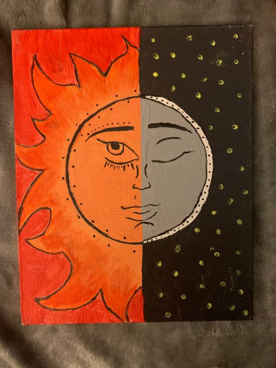 Moon and sun canvas painting - Cartooncanvaspaintings