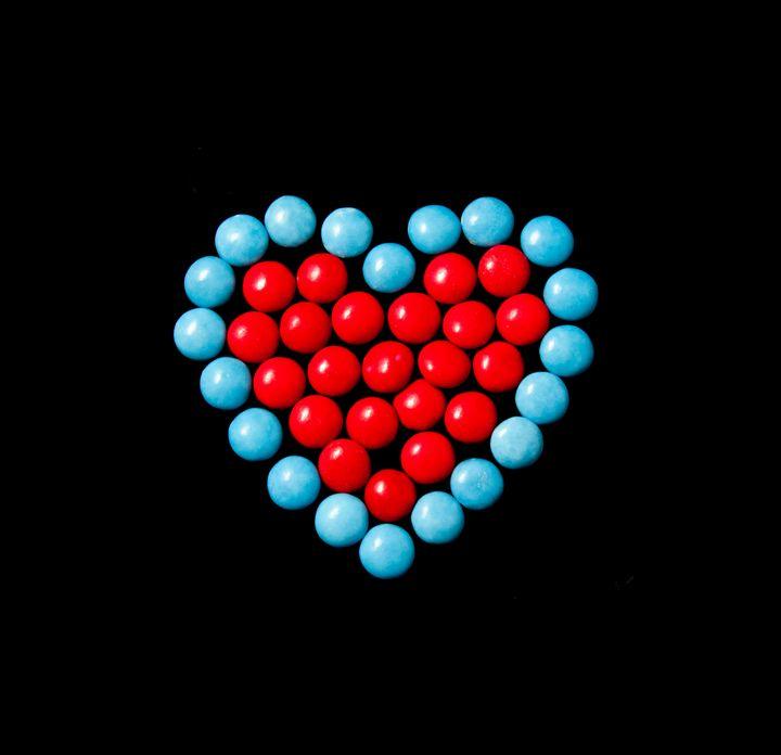 Smartie Heart, blue and red - Jody Coffey