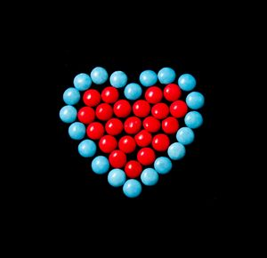Smartie Heart, blue and red
