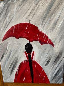Rain on red Umbrella