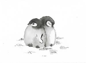 Pair of baby Penguins in snow