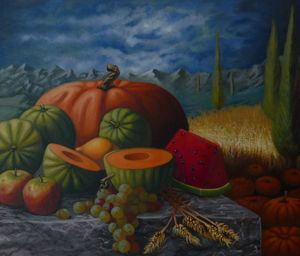 Still life with pumpkin and grapes