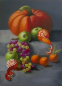 Still life pumpkin grapes and apples