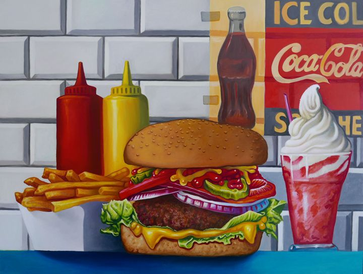 Still life cheeseburger fries - OlivierArts