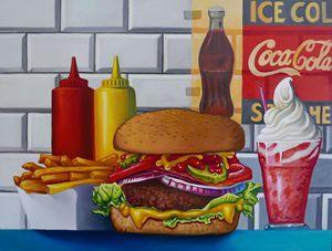 Still life cheeseburger fries