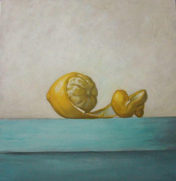 Still life of a  peeled lemon - OlivierArts