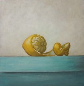Still life of a  peeled lemon