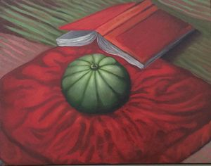 Sill life melon on a cushion