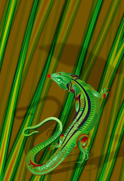 Lizard in Grass - DICK GAGE