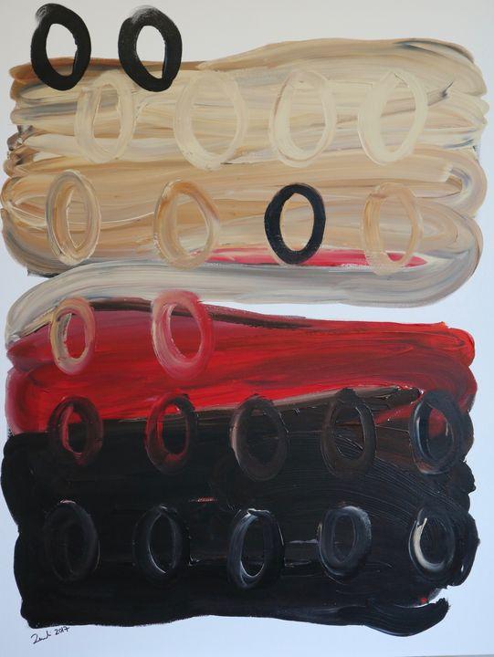 Rulli su fondo beige nero e rosso - Barbara Zecchi Art