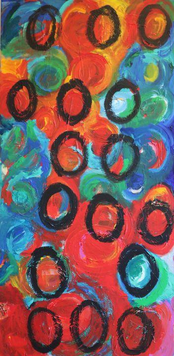 Rulli neri su variopinto rosso - Barbara Zecchi Art