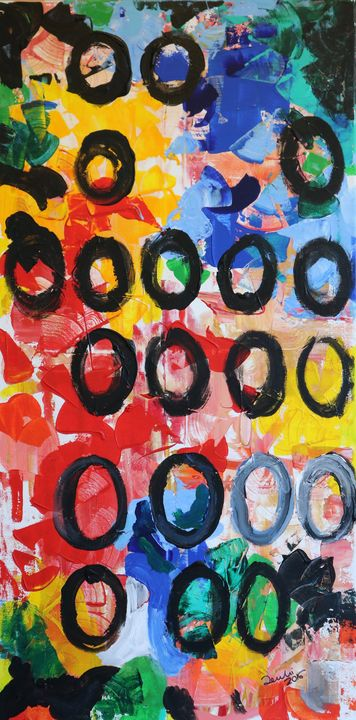 Rulli neri su variopinto giallo - Barbara Zecchi Art