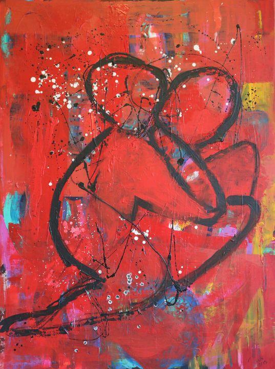Abbraccio rosso su rosso - Barbara Zecchi Art