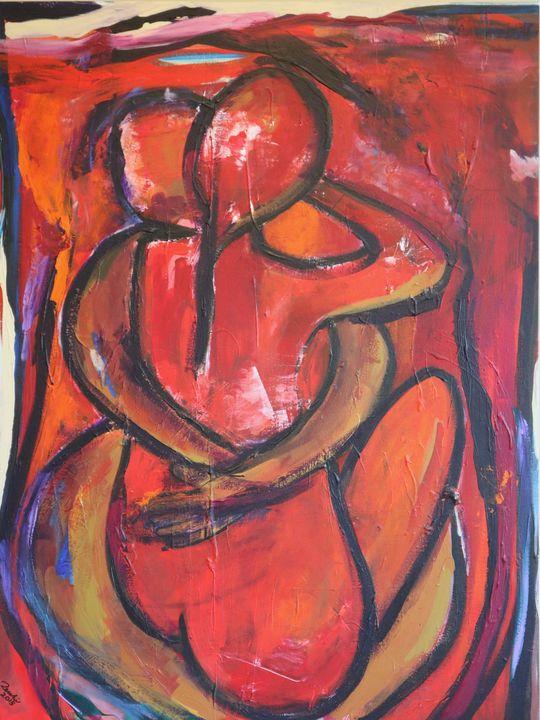 Abbraccio rosso su senape - Barbara Zecchi Art