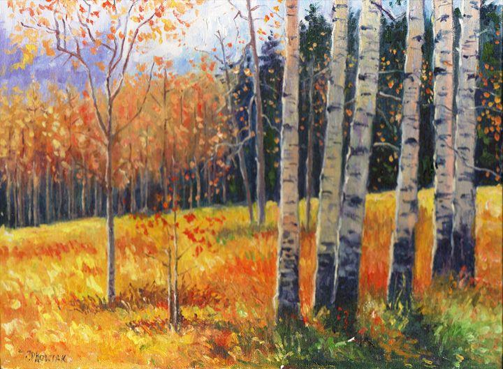 BIRCHES BEAUTIFUL LANDSCAPE - Original Oil Paintings
