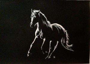 "Cantering horse silhouette, 12""x 8"""