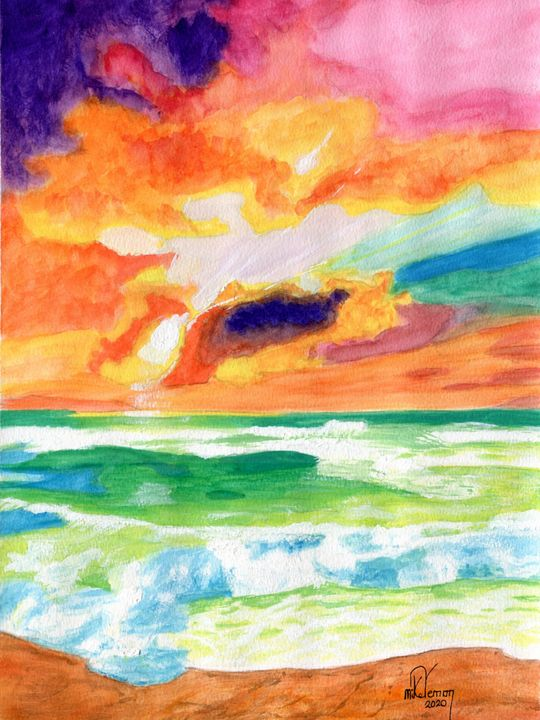 Sunset on Sea and Surf - Mike Vernon Art