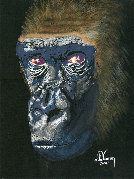 Contemplative Chimpanzee - Mike Vernon Art