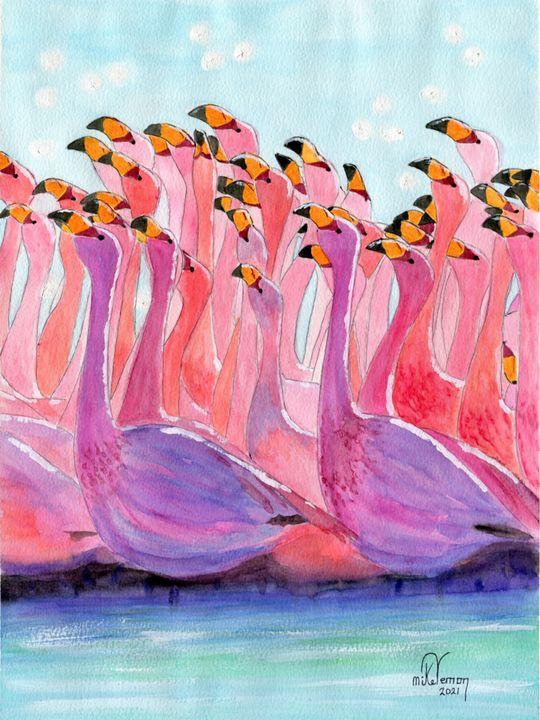 Flamingos Promenade - Mike Vernon Art