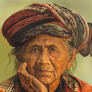 Old Asian woman with a turban