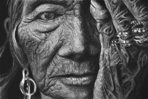 Shaman face in black and white