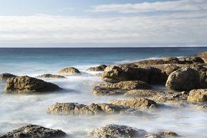 The sea shore and the blue horizon