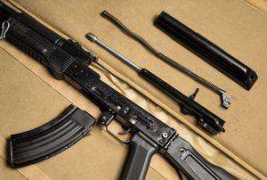 Disassembled assault rifle AK-47.