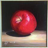 Red apple original painting