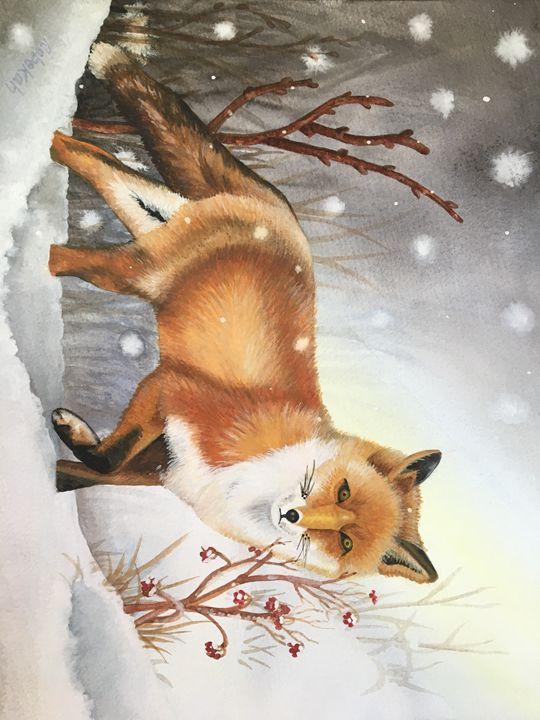 Winter Glow Original Watercolor - Rebekah's Nature Art