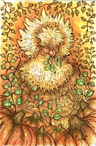 watercolor autumn chicken