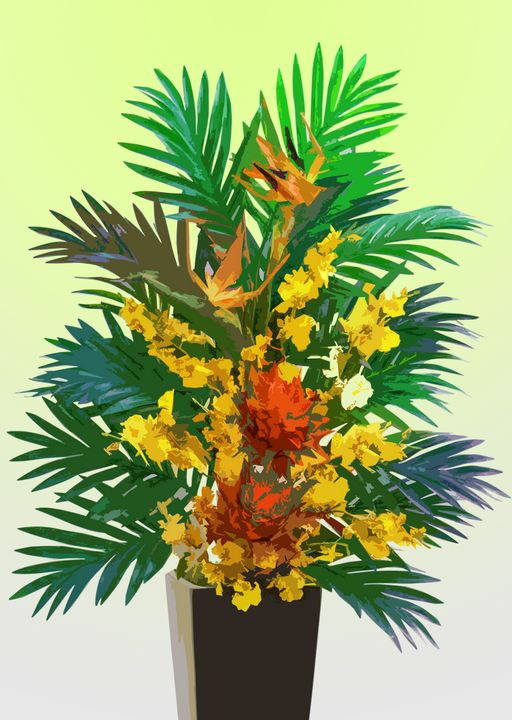 Tropical Flowers Vase B - De Villa Artworks