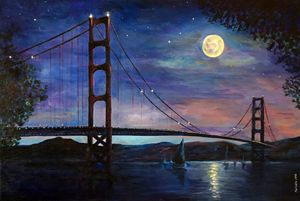 Moonshine at Golden Gate Bridge San - marinelaArt