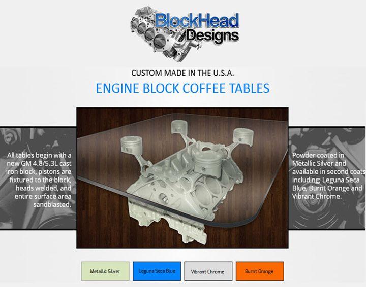 Engine Block Coffee Tables - BlockHead Designs