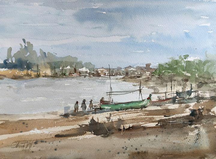 Boat at Pranburi - Chanont Watercolor