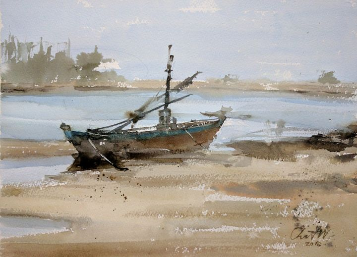 Boat on Pran Beach - Chanont Watercolor