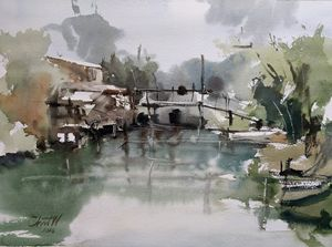 Bangkhen Canal, Bangkok - Chanont Watercolor