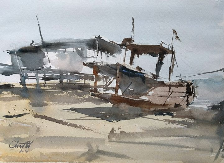 Boat and the beach - Chanont Watercolor