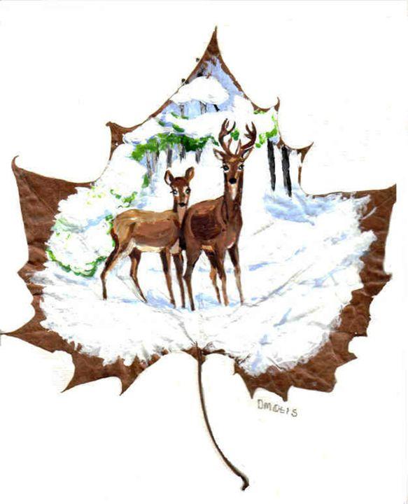 Deer In Snow Leaf Painting - DMO