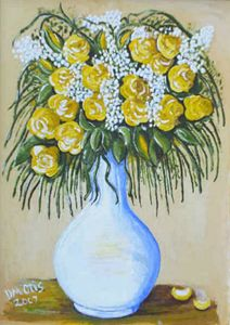 Painting Yellow Roses Bouquet