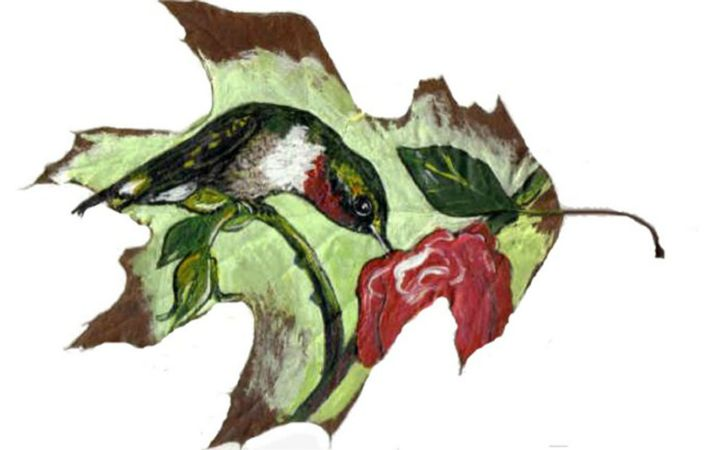 Hummingbird and Rose Leaf Painting - DMO