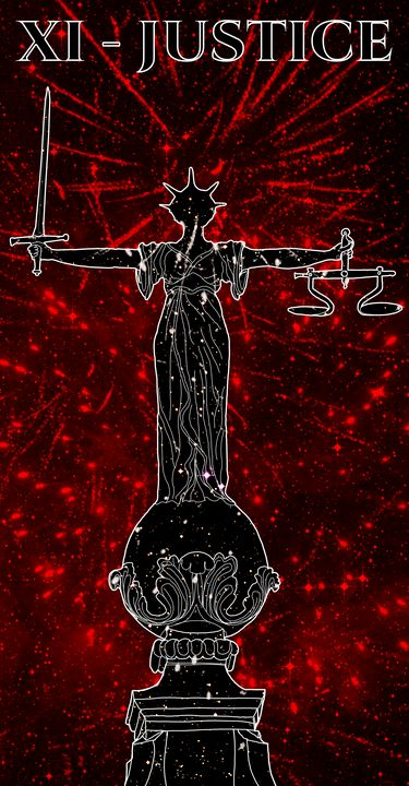 XI - JUSTICE (black on red) - Basha the Astrologer