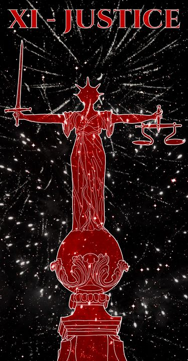 XI - JUSTICE (red on black) - Basha the Astrologer