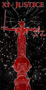 XI - JUSTICE (red on black)