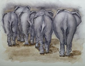 Elephants Leaving..NO BUTTS ABOUT IT