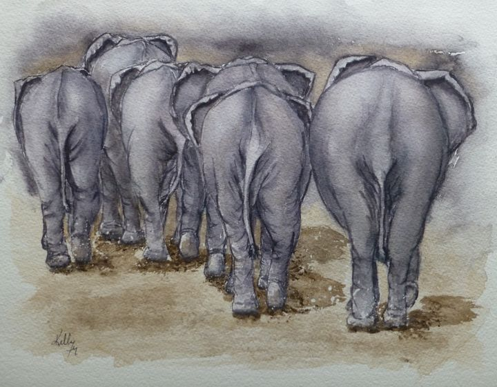Elephants Leaving..NO BUTTS ABOUT IT - Kelly Mills Paintings