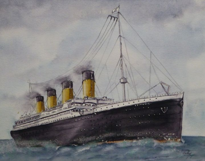 The Titanic Watercolor Painting - Kelly Mills Paintings