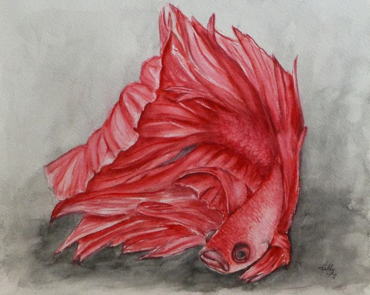 Red Betta Fighting Fish painting - Kelly Mills Paintings