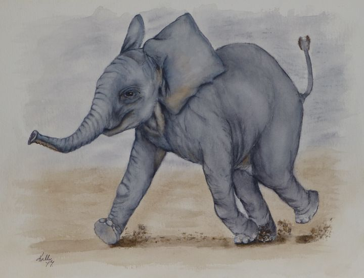 Baby Elephant Run - Kelly Mills Paintings