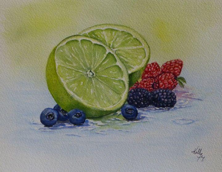 Limes and Berries Original Painting - Kelly Mills Paintings