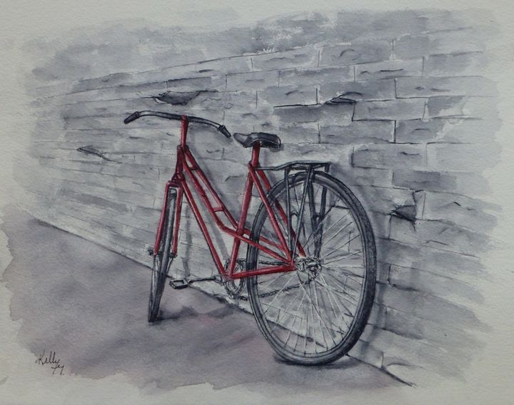 Bicycle in Red Original Painting - Kelly Mills Paintings